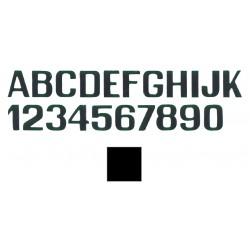 schwarze Buchstaben M und Zahlen mm.150